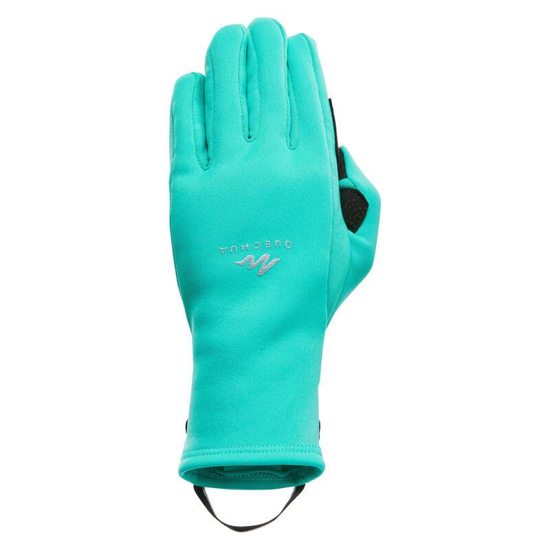 Mănuși inserții tactile drumeție pe zăpadă STRETCH verde Copii 6-14 ani
