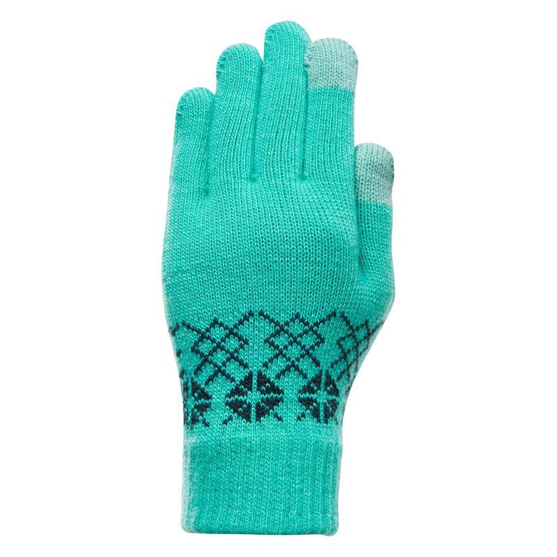 Mănuși cu inserții tactile drumeție pe zăpadă SH100 Verde Copii 4-14 ani