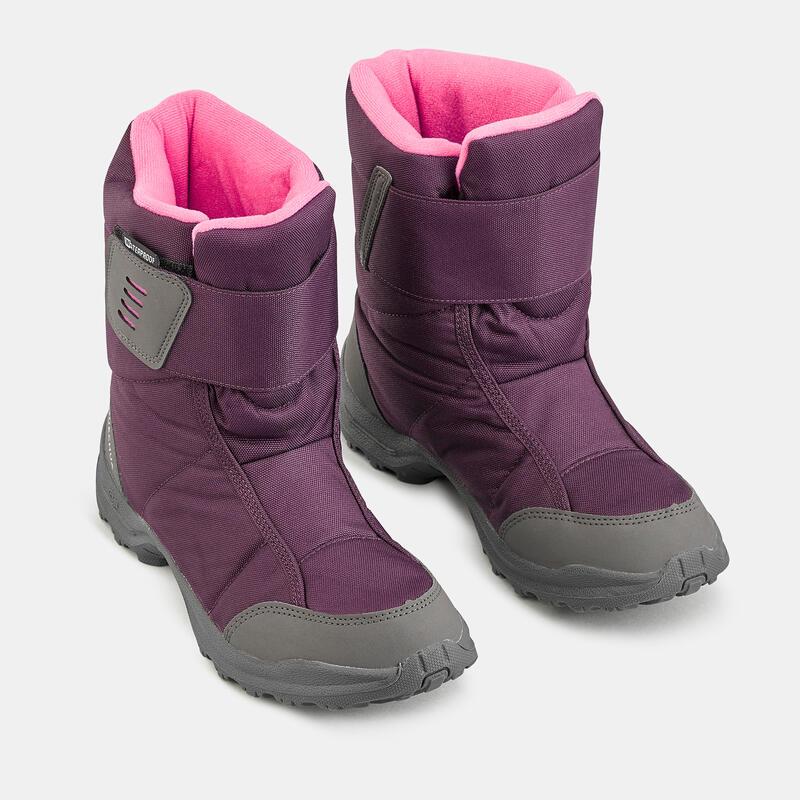 รองเท้าบูตหุ้มข้อเด็กสำหรับเดินป่าหิมะที่หนาวและกันน้ำ SH100 X-WARM (สีชมพู)