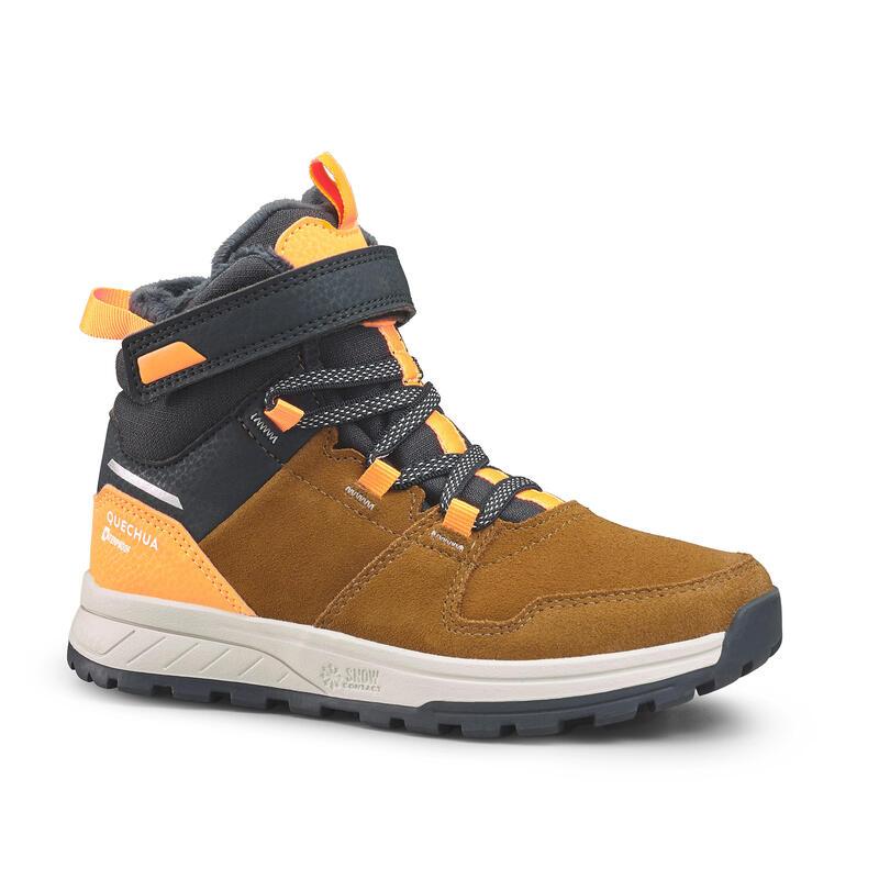Waterdichte wandelschoenen voor kinderen - SH100 Warm - leer klittenband 24-34