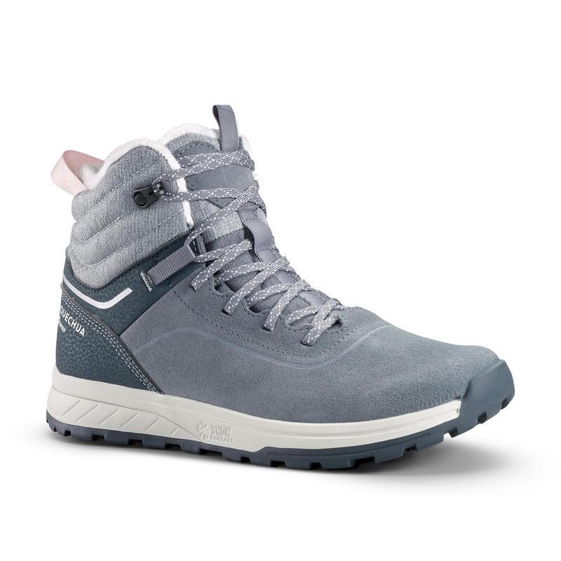 Warme en waterdichte leren wandelschoenen voor kinderen SH100 veters maat 35-38