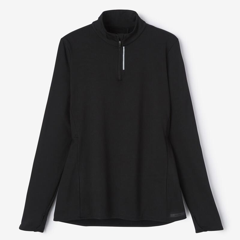 เสื้อเจอร์ซีย์ผู้หญิงแขนยาวสำหรับใส่วิ่งรุ่น Run Warm (สีดำ)