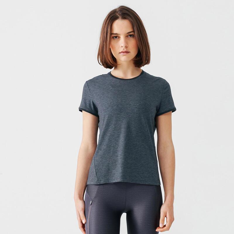 T-shirt de running manches courtes respirant femme - Soft gris foncé