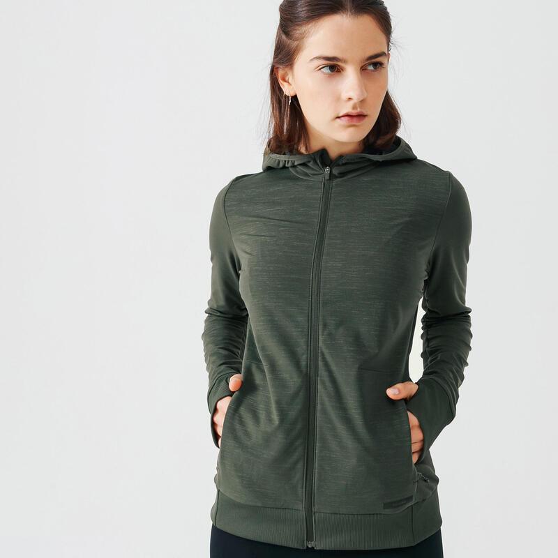 Capuchonvest voor hardlopen dames Run Warm kaki
