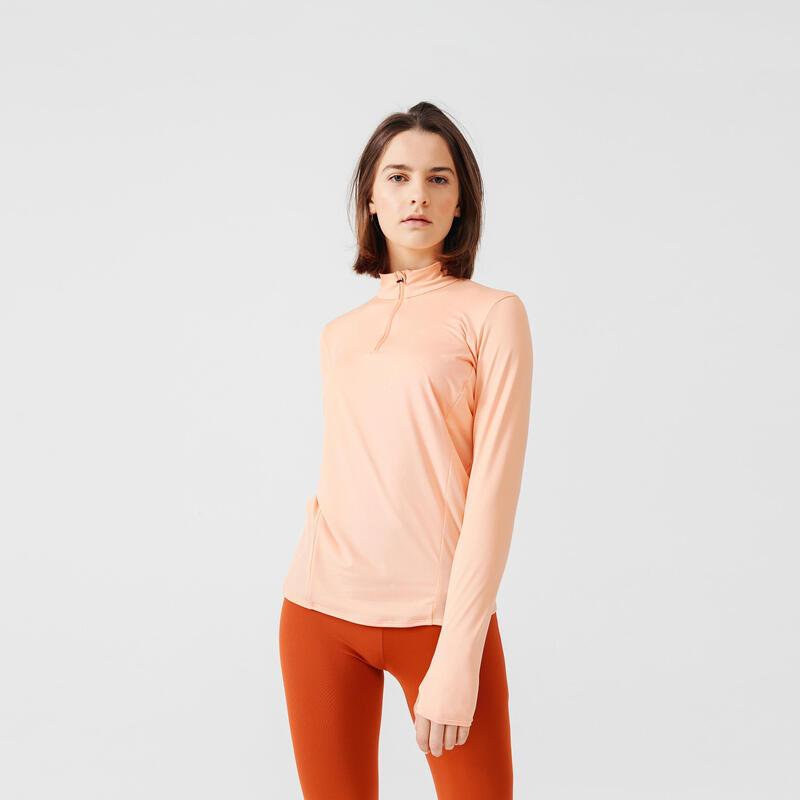 T-shirt manica lunga running donna RUN DRY+ arancione