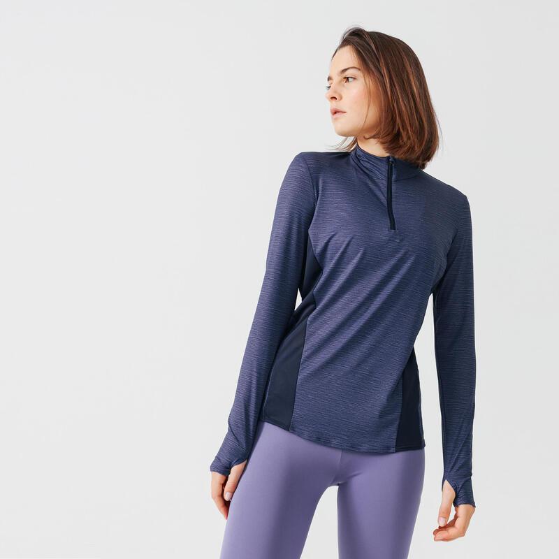 T-shirt manica lunga running donna RUN DRY+ blu