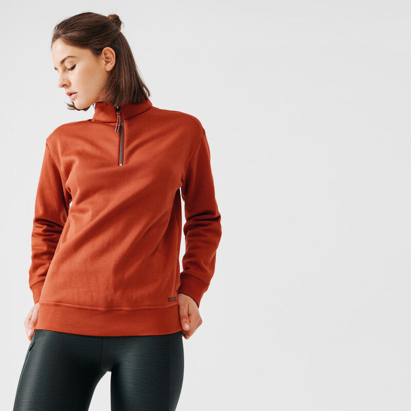 WOMEN'S RUNNING SWEATSHIRT WARM ZIPPED COLLAR BROWN