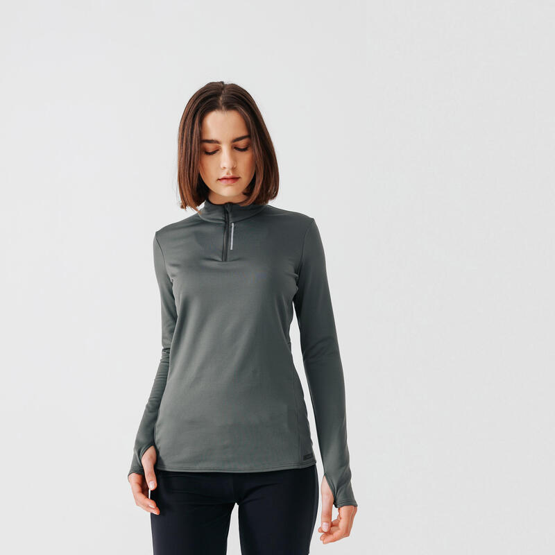 Hardloopshirt voor dames Run Warm lange mouwen halve rits kaki