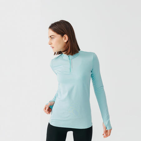 RUN DRY WOMEN'S LONG-SLEEVED HALF-ZIP RUNNING T-SHIRT - LIGHT BLUE