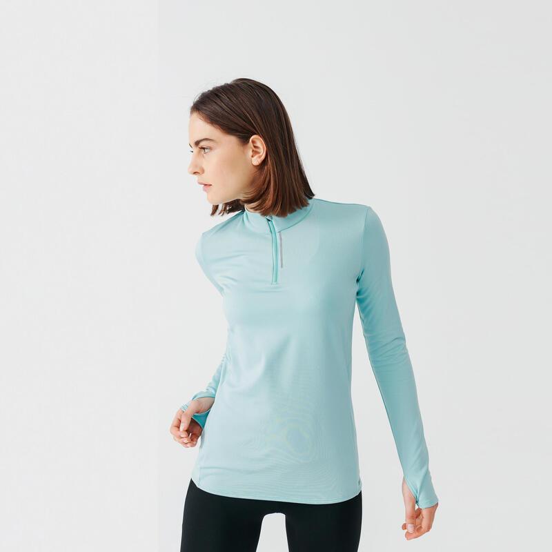 Camiseta Running Run Warm Mujer Azul Claro Manga Larga Cálida Media Cremallera