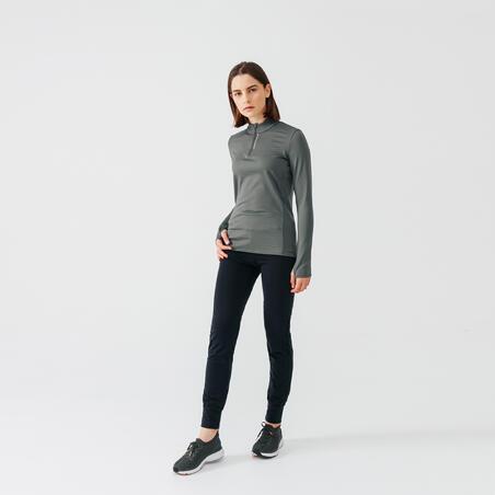RUN WARM WOMEN'S RUNNING LONG-SLEEVED T-SHIRT KHAKI