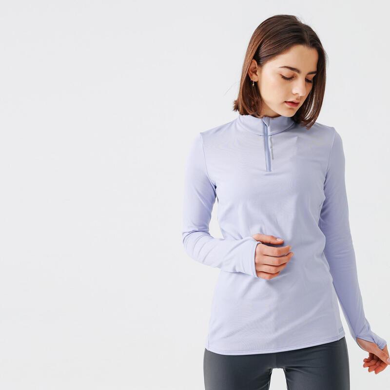 Camiseta Running Run Warm Mujer Violeta Claro Manga Larga Cál Media Cremallera