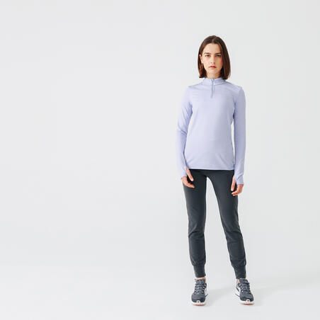 RUN DRY WOMEN'S LONG-SLEEVED HALF-ZIP RUNNING T-SHIRT - LIGHT PURPLE