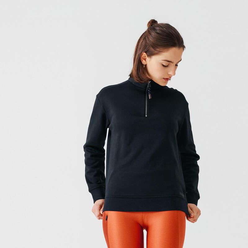 Warme sweater voor hardlopen dames rits aan de hals zwart