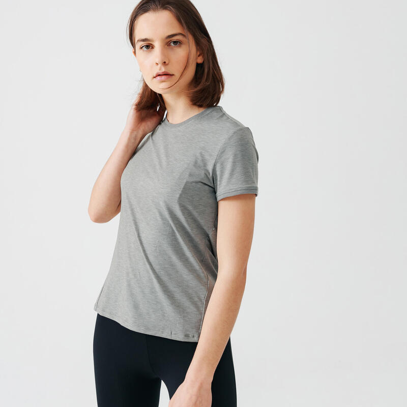 T-shirt de running manches courtes respirant femme - Soft kaki