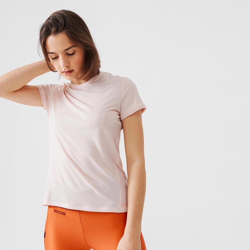 T-shirt de running manches courtes respirant femme - Soft rose
