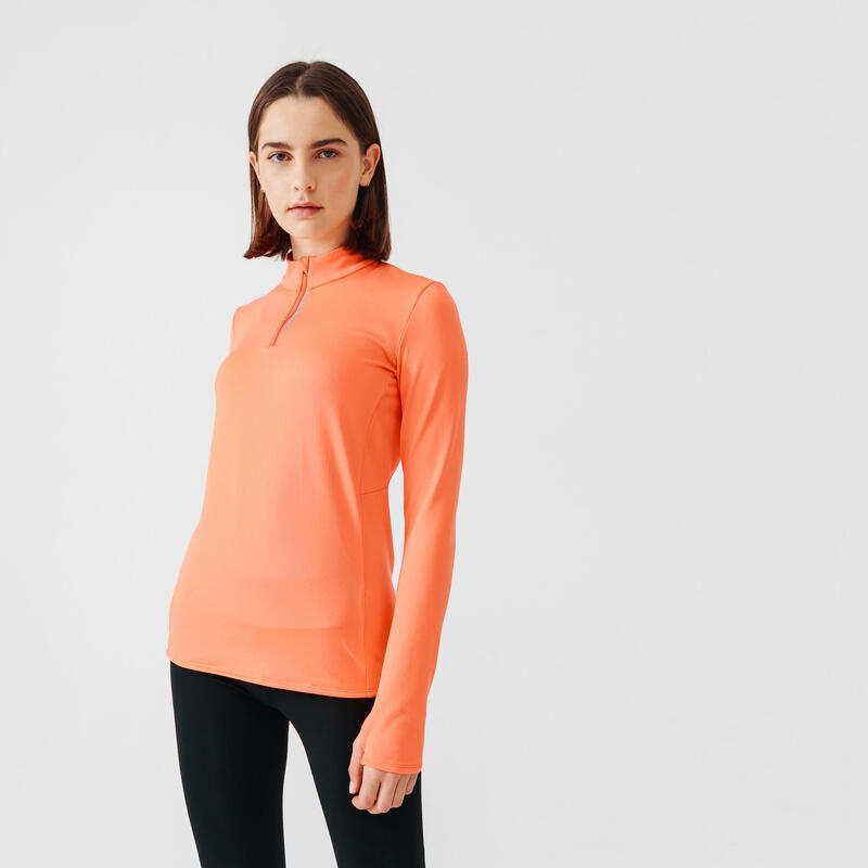 Camiseta Running Run Warm Mujer Naranja Manga Larga Media Cremallera
