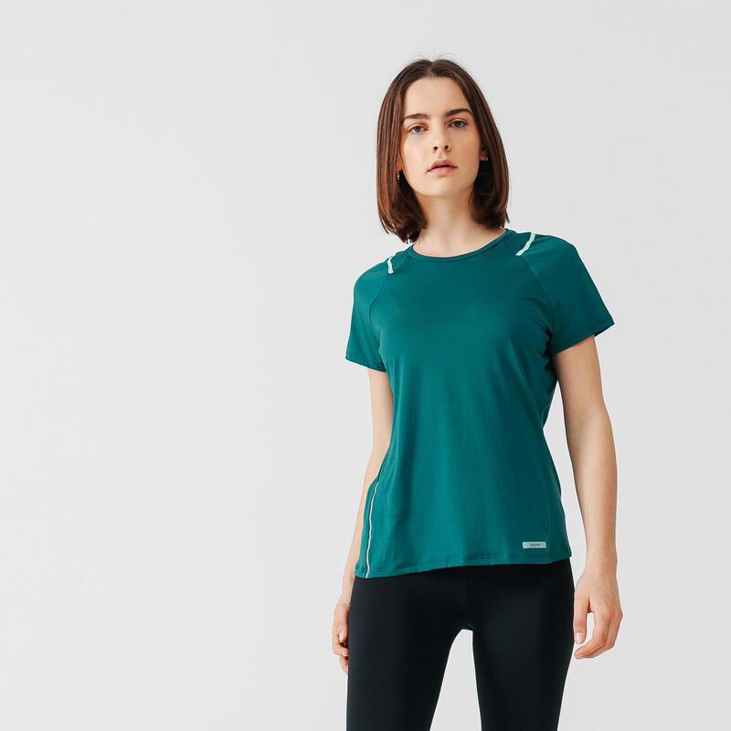 T-shirt de running manches courtes respirant femme - Dry+ vert turquoise