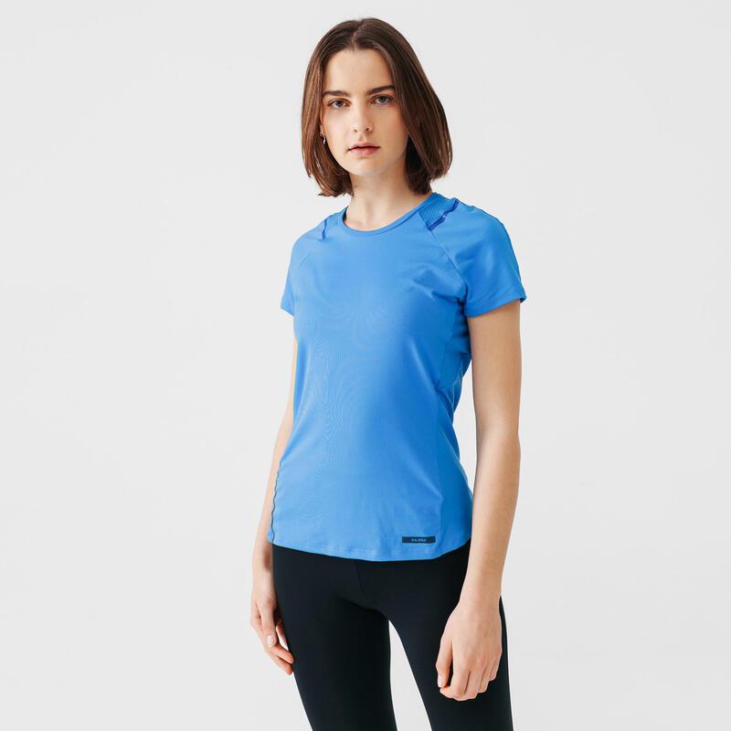 T-shirt running donna RUN DRY+ azzurra