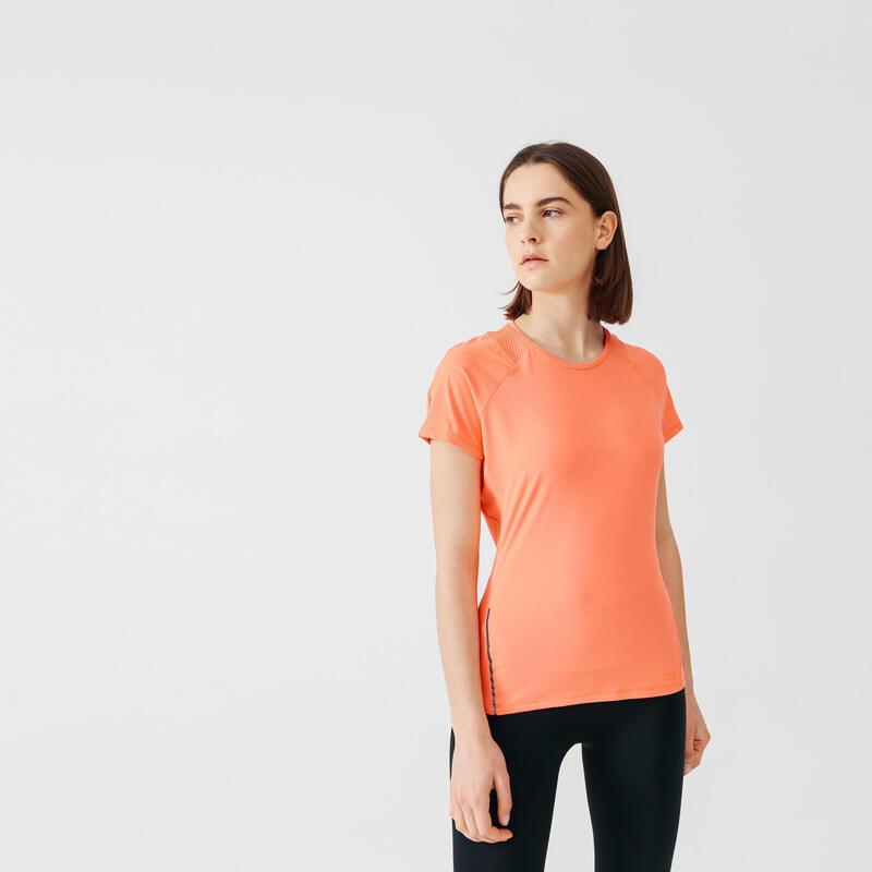 T-shirt de running manches courtes respirant femme - Dry+ rose