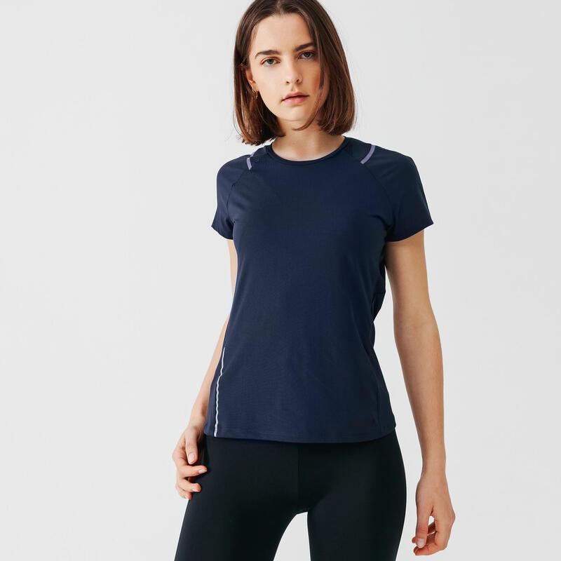 T-shirt de running manches courtes respirant femme - Dry+ bleu fonçé