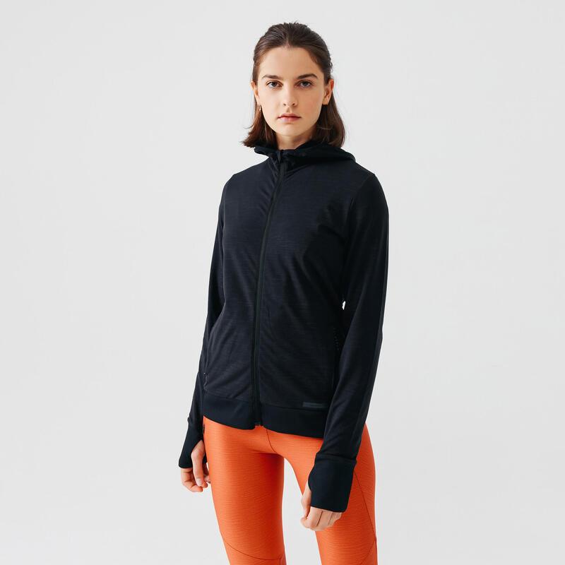 Run Warm Women's Running Hooded Jacket - black