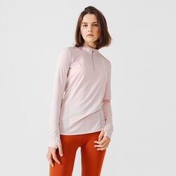Run Dry + Women's Running Long-Sleeved Zip Tee-Shirt - Quartz Pink