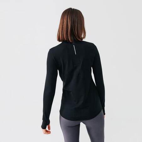 Run Warm Women's Long-Sleeved T-Shirt Zip - black
