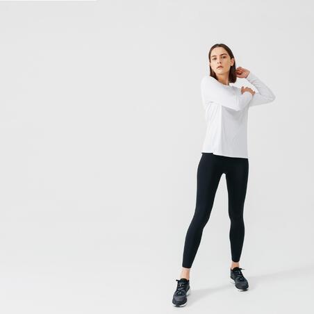 RUN SUN PROTECT WOMEN'S LONG-SLEEVED RUNNING T-SHIRT - WHITE