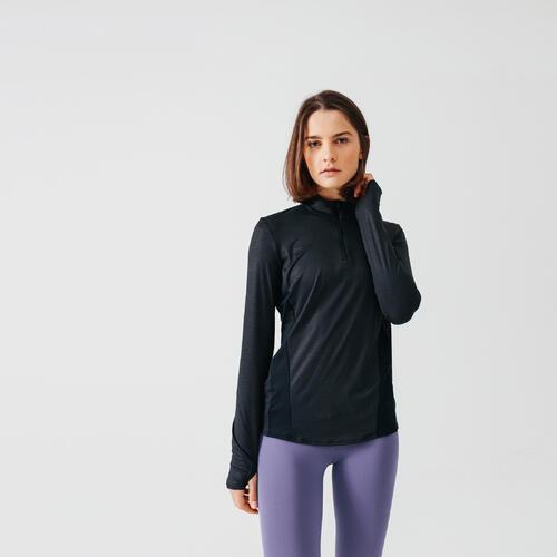 Maillot course à pied femme manches longues zip run dry noir