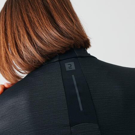 RUN DRY+ WOMEN'S LONG-SLEEVED HALF-ZIP RUNNING T-SHIRT - BLACK