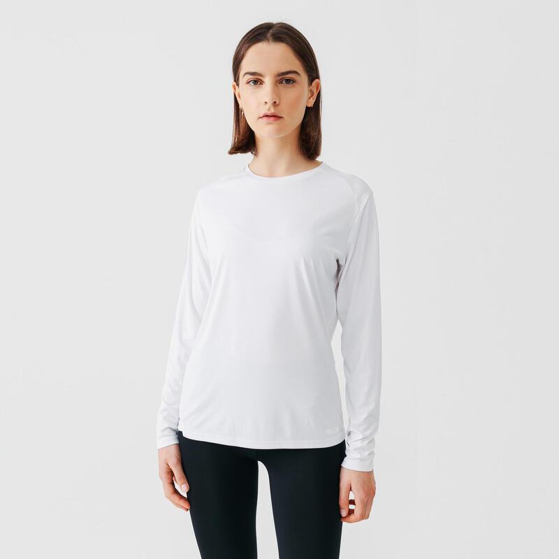 T-shirt de running manches longues ANTI-UV femme - blanc