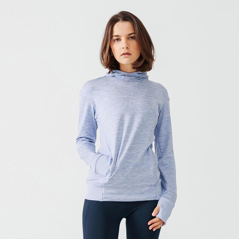 Sudadera Capucha Running Run Warm Mujer Azul Claro Cálida