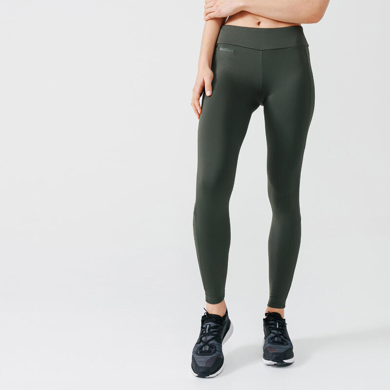 Legging running long chaud femme - Warm+ kaki