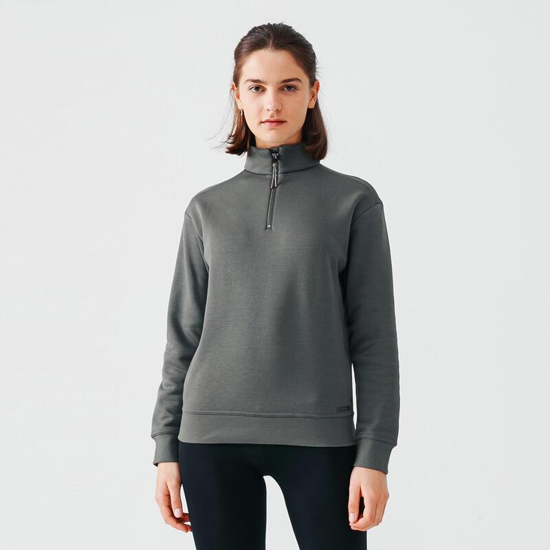Warme sweater voor hardlopen dames rits aan de hals kaki