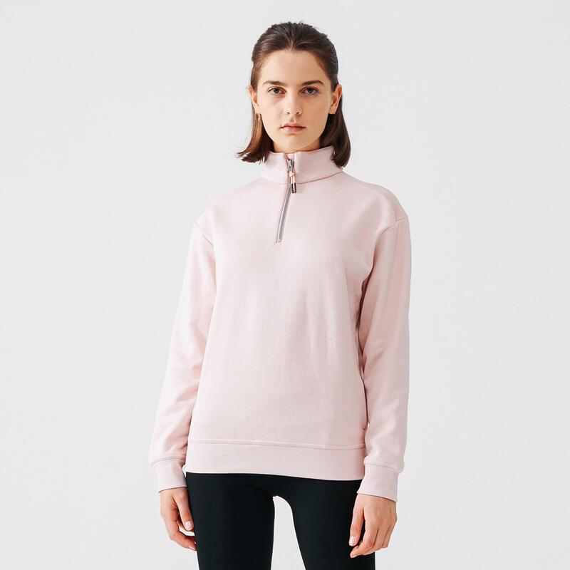 Warme sweater voor hardlopen dames rits aan de hals roze