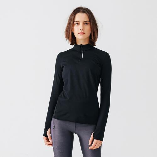 Maillot course à pied femme manches longues noir run warm