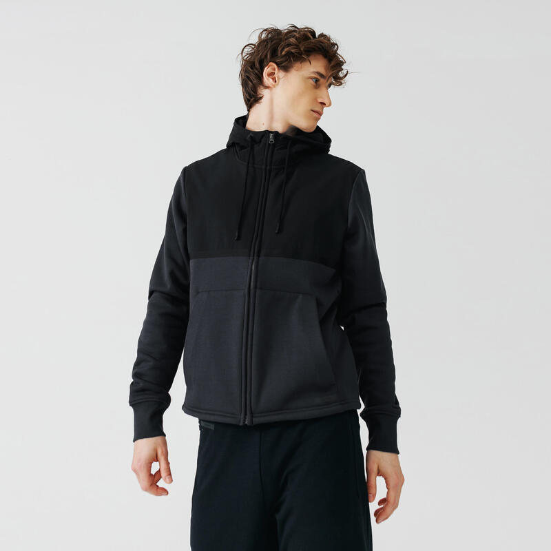 Kalenji Warm+ Men's Running Zipped Hoodie Sweatshirt - Grey Blue