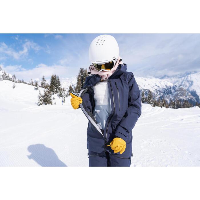 Casaco de Ski Freeride 2ª Camada FR 900 LIGHT Mulher Branco Cinzento
