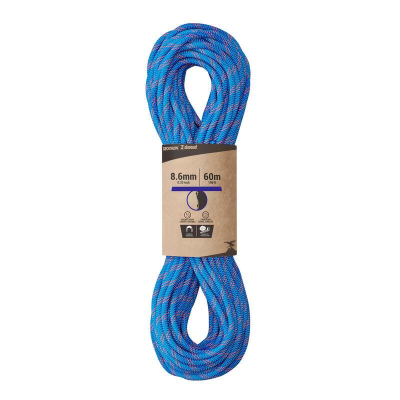 Cuerda en doble de escalada y alpinismo de 8,6 mm x 60 m - RAPPEL 8.6 Azul