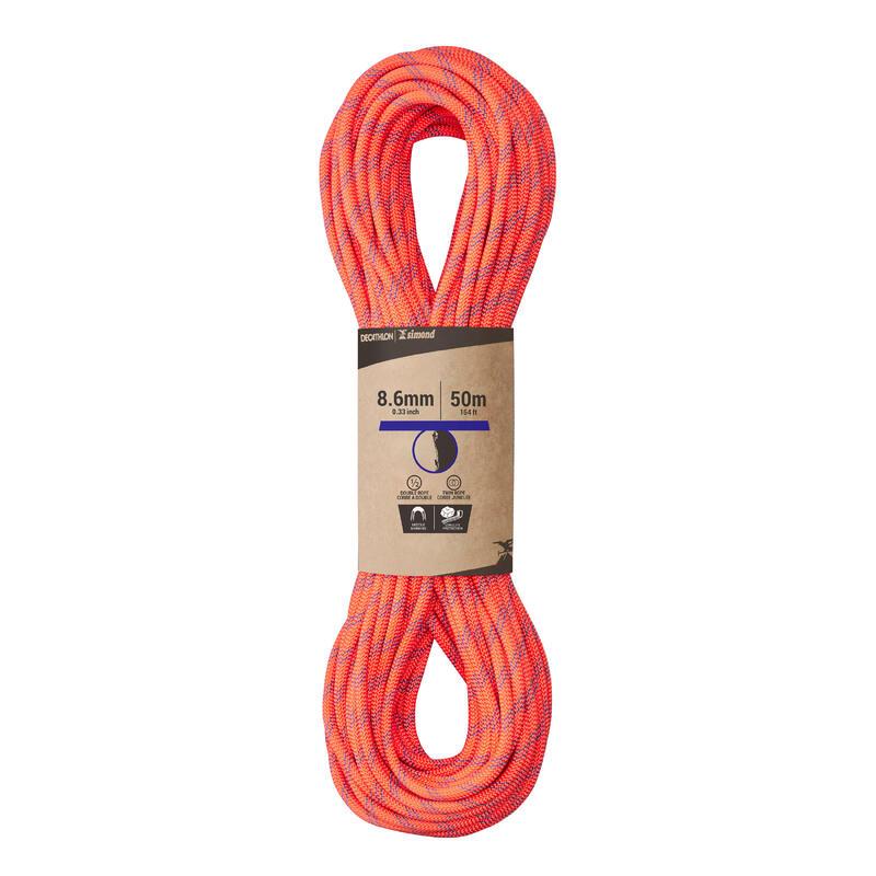 Corde à double d'escalade et d'alpinisme 8.6 mm x 50 m - Rappel 8.6 Orange