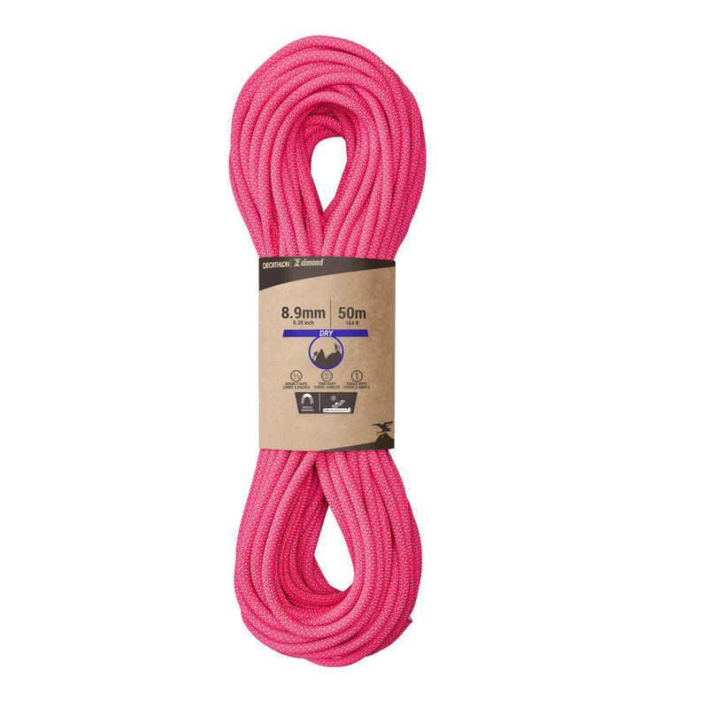 TRIPLE DRY ROPE STANDARD FOR CLIMBING AND MOUNTAINEERING 8.9mmx50m-EDGE DRY ROSE