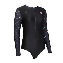 女款合身長袖前開式連身泳衣 Arena(迪卡儂獨家)- 黑