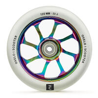 """Aliuminio šerdies PU sportinio paspirtuko ratukas, 120 mm, """"Neochrome""""/skaidrus"""
