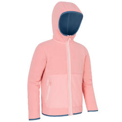 兒童款正反兩用航海刷毛外套 500-淺藍色/粉紅色