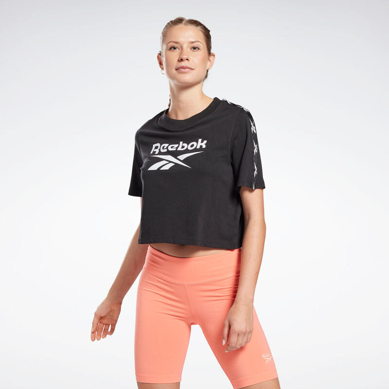 T-shirt fitness Reebok manches courtes crop top coton col rond femme noir