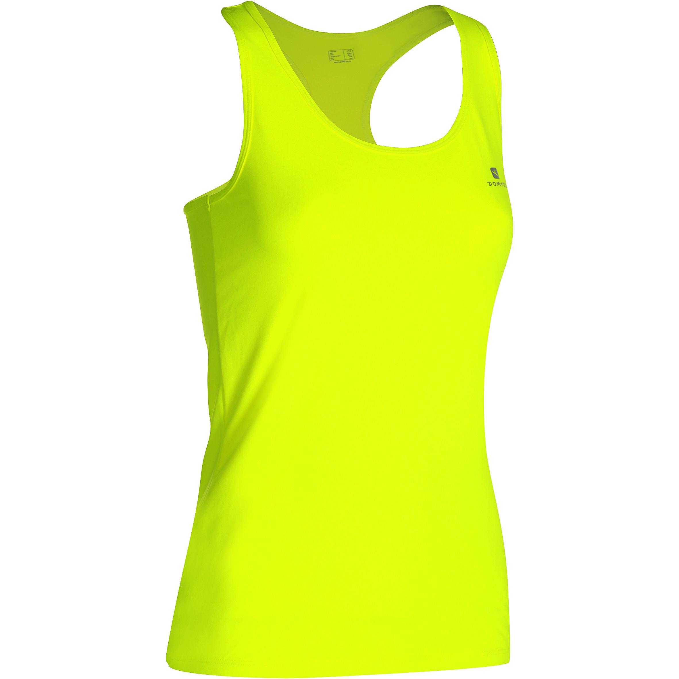 Camiseta sin mangas fitness cardio mujer amarillo fluo MY TOP