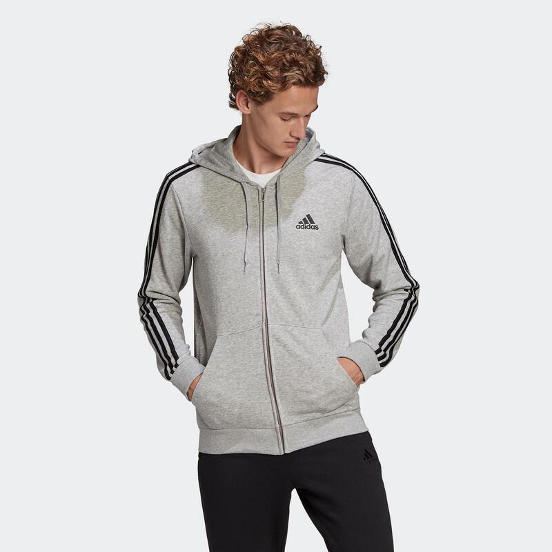 SWEAT A CAPUCHE FITNESS ADIDAS HOMME GRIS