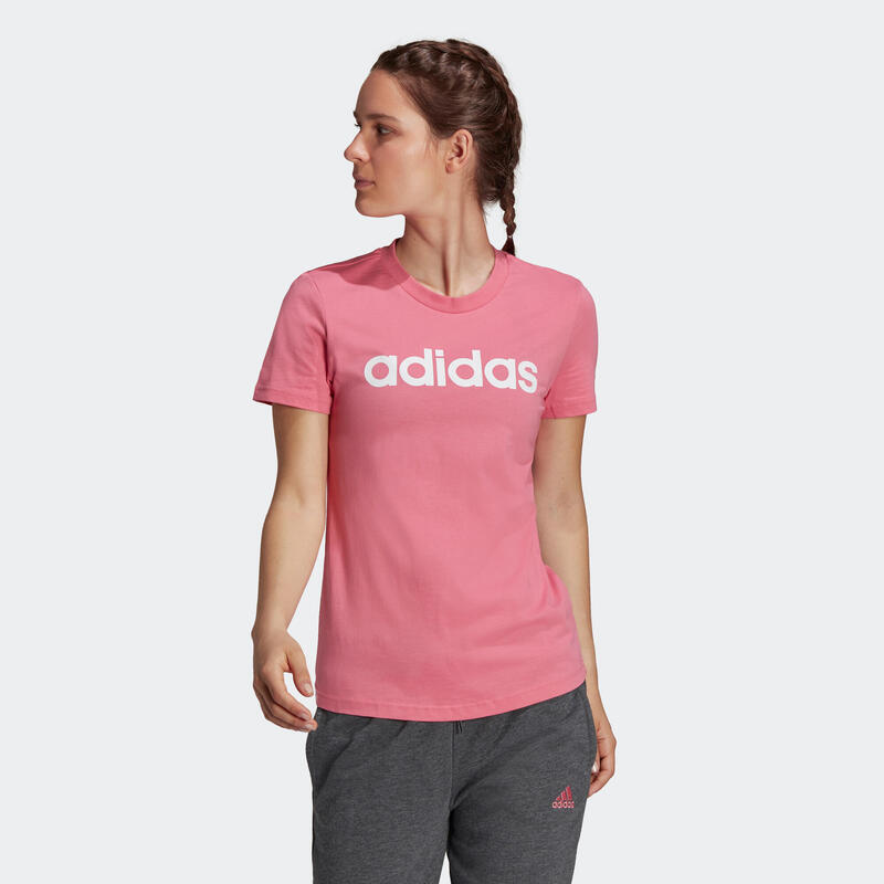 T-shirt fitness manches courtes slim coton col rond femme rose