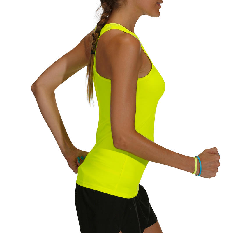 Débardeur MY TOP fitness cardio-training femme jaune fluo 100